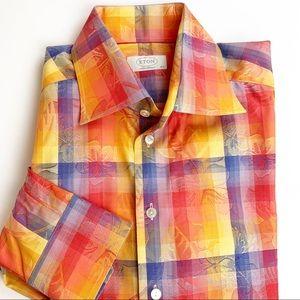 Eton Sweden jacquard flip cuff dress shirt
